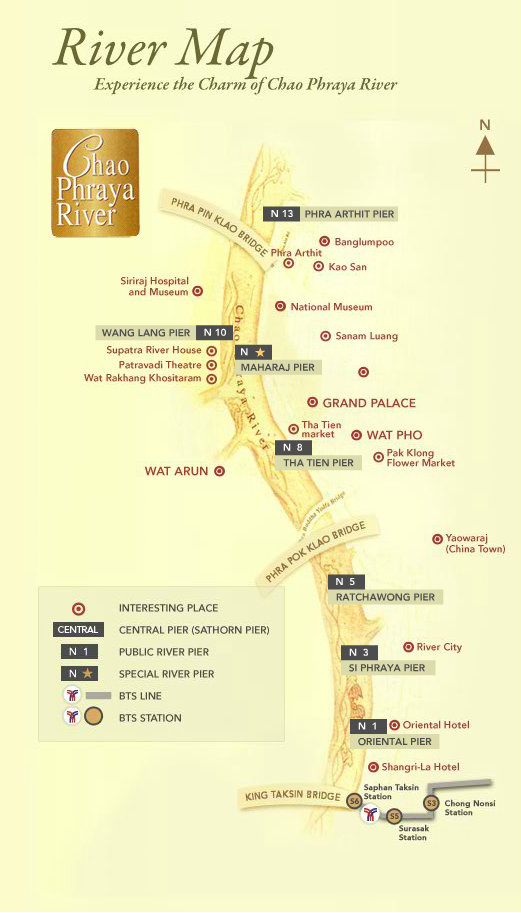 Chao Phray Express Boat Tourist Service Route Map